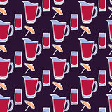 Cocktail. Seamless pattern with glass, umbrella vector illustration