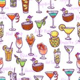 Cocktail Seamless Pattern Stock Image