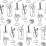 Cocktail seamless pattern with hand drawn sketch alcohol refreshments. Vector illustration Royalty Free Stock Images