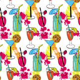 Cocktail seamless pattern with hand drawn sketch alcohol refreshments. Vector illustration Royalty Free Stock Photography