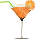 Cocktail series part2. Orange refreshner cocktail and orange slice in designed fglass Stock Photo