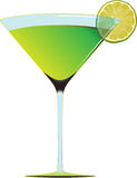 Cocktail series1. Green refreshner cocktail and lemon slice in designed fglass Royalty Free Stock Image