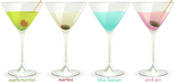 Cocktail set. Cocktail vector set with martini, pink gin, blue lagoon and apple martini Royalty Free Stock Image