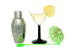 Cocktail set. Cocktail shaker and cocktail with stirrer and umbrella stock photo