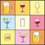 Cocktail set. Alcoholic beverages and menu  drawings that can be used in such work Stock Image