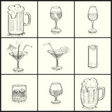 Cocktail set. Alcoholic beverages and menu  drawings that can be used in such work Royalty Free Stock Image
