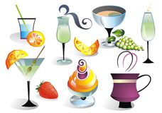 Cocktail set with fruits Royalty Free Stock Photos