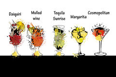 Cocktail set with name. Template for cocktail menu. Royalty Free Stock Image