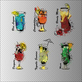 Cocktail set on transparent background. Template for cocktail menu. Alcohol, Summer drinks. Spray, spot watercolor. Vector illustration of Cocktail set on Royalty Free Stock Photography