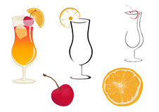 Cocktail sex on the beach. Sex on the beach cocktail glasses, cherry and orange Stock Photos