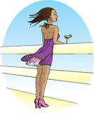 Cocktail. A woman stands on a cruise ship and enjoys a cocktail, letting the wind blow her hair and her skirt stock illustration