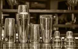 Cocktail shaker, bar. Tender tools, a set of equipment, bar, retro style, vintage, black and white photo toning Royalty Free Stock Photo