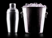 Cocktail shaker with metal ice bucket Royalty Free Stock Image