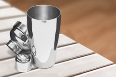 Cocktail Shaker. Cocktail Metal Silver shaker shaking mixing royalty free stock photos