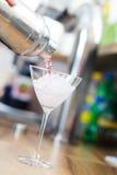 Cocktail Shaker Pouring Martini Immagini Stock