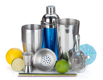 Cocktail shaker, strainer, measuring cup, drinking straws and ci royalty free stock images