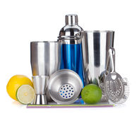 Cocktail shaker, strainer, measuring cup, etc Stock Image