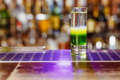 Cocktail shot green mexican in bar Royalty Free Stock Photography