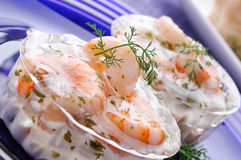 Cocktail of shrimp in jelly Stock Photo