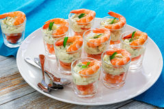 Cocktail Shrimp Shooters with mayonnaise sauce decorated with pa Royalty Free Stock Images
