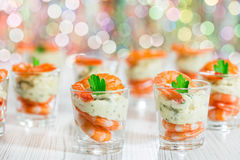 Cocktail Shrimp shot glasses with delicious homemade tartar spic Stock Photography