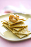 Cocktail shrimps on crackers Stock Images