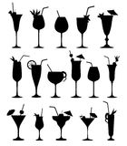 Cocktail silhouettes  Cocktail drink glass set. Royalty Free Stock Image