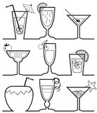 Cocktail silhouettes collection Stock Photography