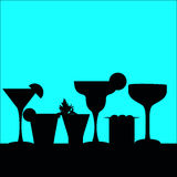 Cocktail silhouettes in a row stock illustration