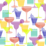 Cocktail silhouettes seamless pattern. Vector illustration  with different glasses and drinks for beverage menu, party ad, club lounge, wrapping paper, textile Royalty Free Stock Photos