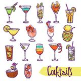 Cocktail Sketch Set Stock Image