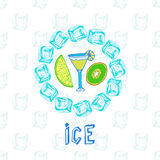 Cocktail sketches with kiwi and lime. Ice frame. Vector illustration. Stock Images