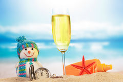 Cocktail and snowman Royalty Free Stock Photography