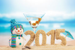 Cocktail, snowman and New year sign Stock Images