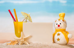 Cocktail, snowman and starfish Stock Image