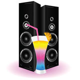 Cocktail and speaker art illustration Stock Image