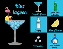 Cocktail in square vector illustration