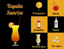 Cocktail in square stock illustration