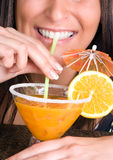 Cocktail and straw Royalty Free Stock Photography