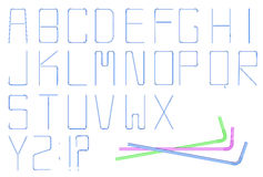 Cocktail straw alphabet. Collection of detailed, realistic cocktail straw alphabet letters on white background. Can be used for cards, posters, flyers royalty free illustration
