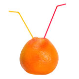 Cocktail straw in grapefruit Stock Images