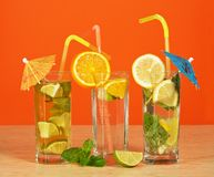 Cocktail with straw and umbrella Stock Image