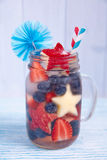 Cocktail with strawberry, blueberry and apple Royalty Free Stock Image