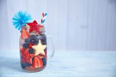 Cocktail with strawberry, blueberry and apple Stock Photo