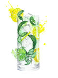 Cocktail strawberry daiquiri mojito rainbow watercolor painting illustration isolated on white background Stock Images