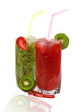 Cocktail of strawberry and kiwi. Cocktail of fresh strawberries and kiwi  on white background Royalty Free Stock Images