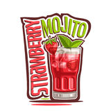 Cocktail Strawberry Mojito. Vector illustration of alcohol Cocktail Strawberry Mojito: garnish of berry and mint leaves on glass of fruit cocktail, logo for stock illustration