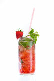 Cocktail with strawberry Stock Photos