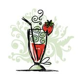 Cocktail with strawberry, sketch for your design Stock Photo