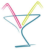 Cocktail with straws. Cocktail with two straws, illustration background Royalty Free Stock Photos
